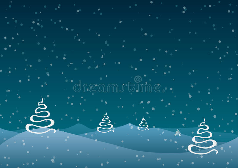 Ilustração do vetor Natal Árvores abstratas contra um fundo azul da neve de queda ilustração royalty free