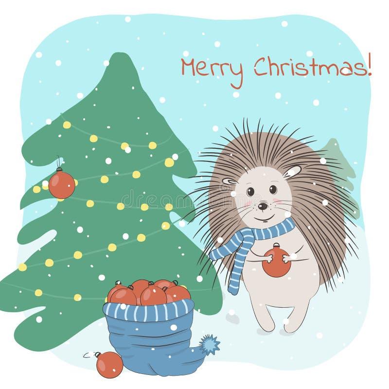 Ilustração do vetor do Natal e do inverno com o ouriço bonito que decora a árvore de abeto e a frase do Feliz Natal ilustração royalty free