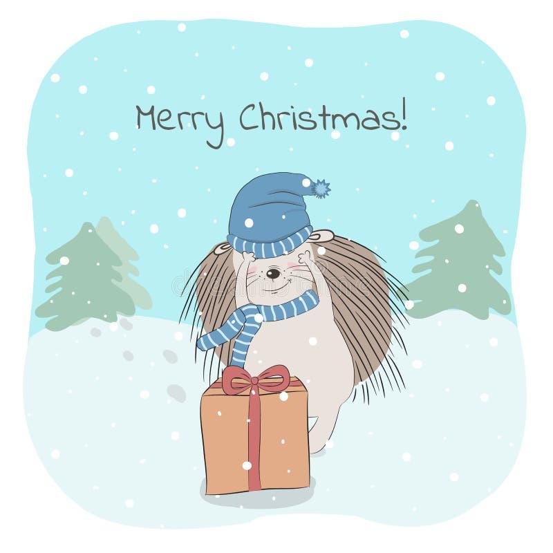 Ilustração do vetor do Natal e do inverno com ouriço bonito e frase do Feliz Natal ilustração royalty free
