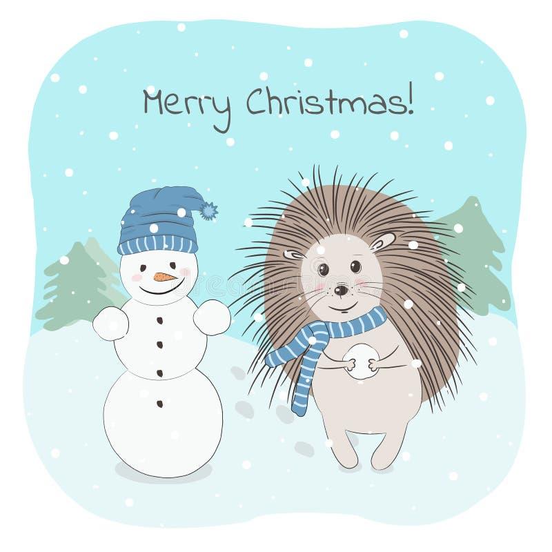 Ilustração do vetor do Natal e do inverno com ouriço, o boneco de neve e frase bonitos do Feliz Natal ilustração do vetor