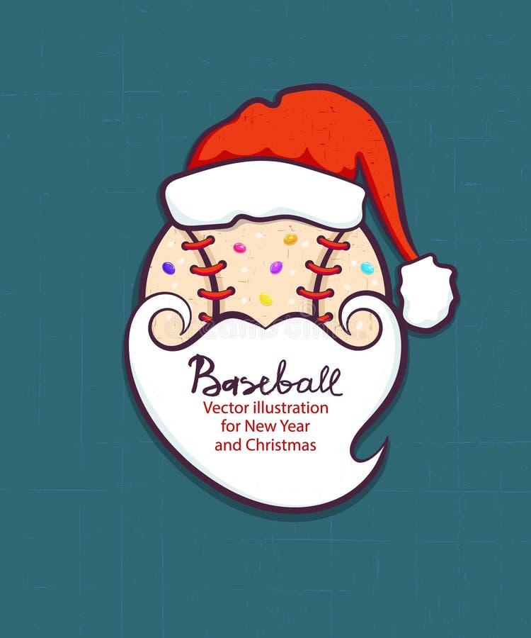 Ilustração do vetor do Natal para o basebol A bola no chapéu é Santa Claus e com uma barba Elemento para o projeto do cartão, ins ilustração do vetor