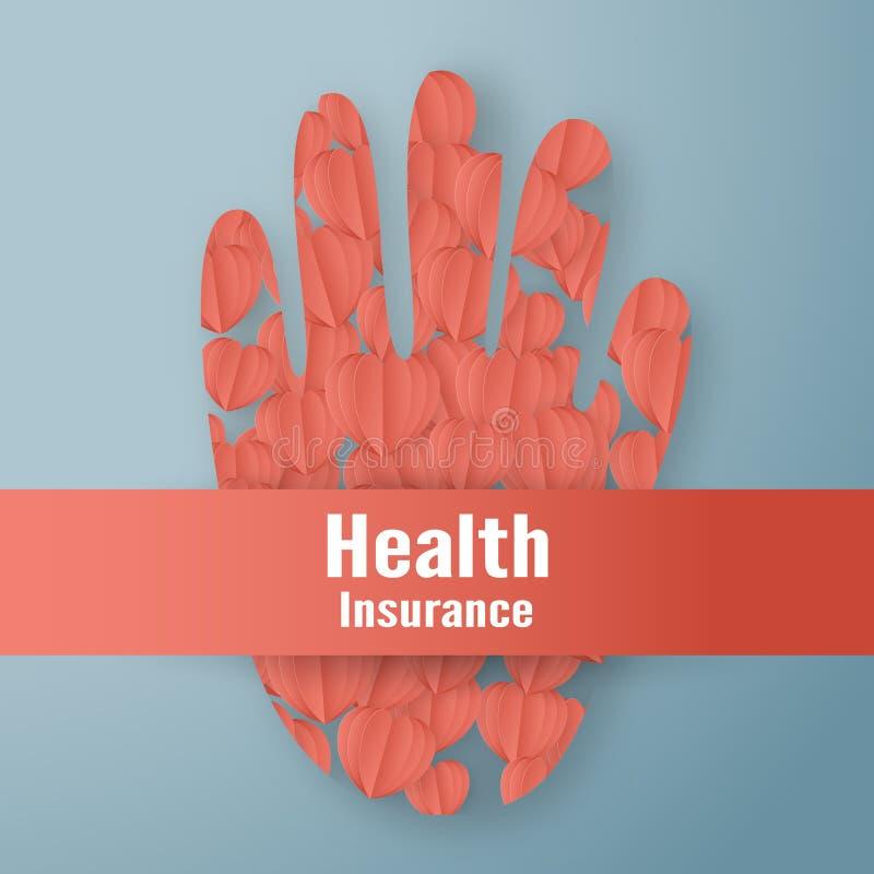 Ilustração do vetor no conceito do seguro de saúde O projeto do molde está no fundo azul pastel no estilo do corte do papel 3D ilustração stock