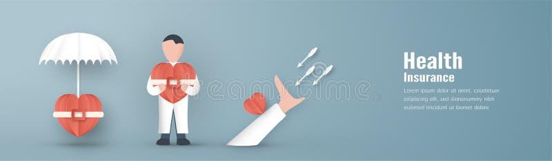 Ilustração do vetor no conceito do seguro de saúde O projeto do molde está no fundo azul pastel no estilo do corte do papel 3D ilustração royalty free