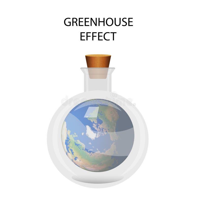 Ilustração do vetor no efeito de estufa Terra em uma garrafa médica ilustração royalty free
