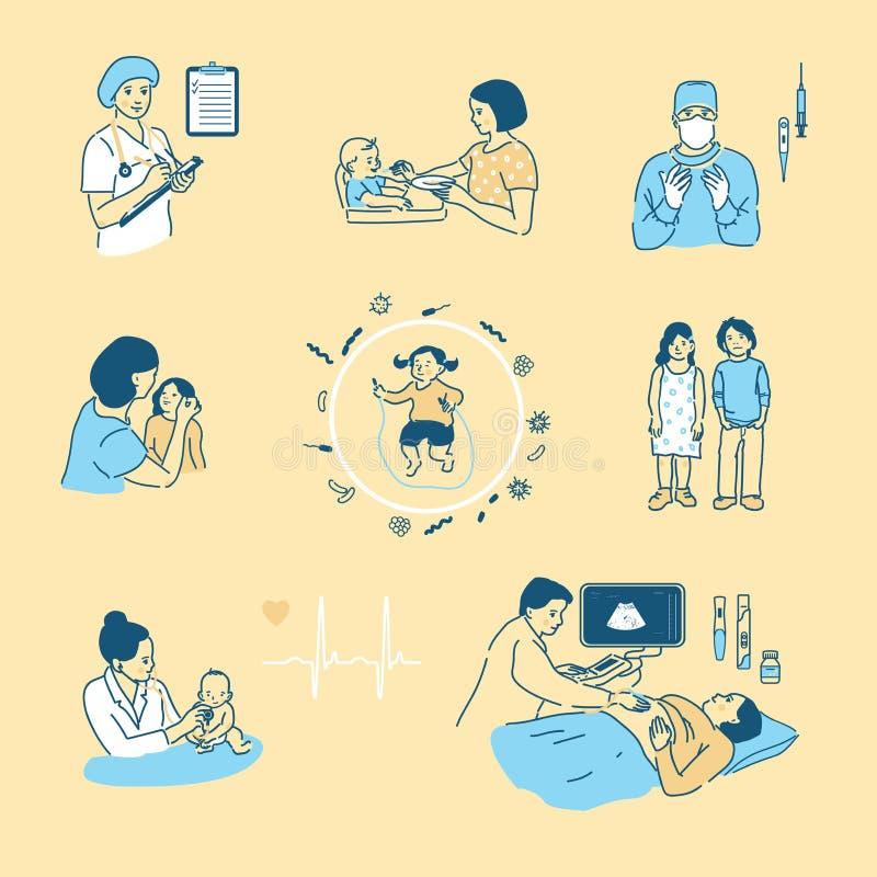 Ilustração do vetor no estilo dos desenhos animados Saúde das crianças s, gravidez, cuidado de um infante, maternidade Um grande  ilustração do vetor