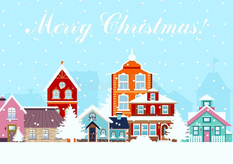 Ilustração do vetor no estilo liso Noite nevado no panorama acolhedor da cidade da cidade com as casas coloridas na neve Arquitet ilustração stock