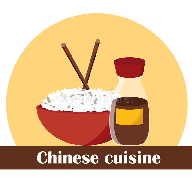 Ilustração do vetor no tema chinês do alimento ilustração do vetor