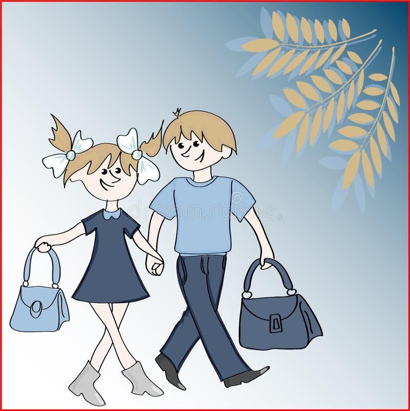 Ilustração do vetor no tema - de volta à escola Duas crianças louras brancas, um menino e uma menina, guardando as mãos, vão a ilustração stock