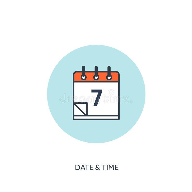 Ilustração do vetor O calendário alinhou o ícone Tempo da data Planeamento do feriado ilustração royalty free