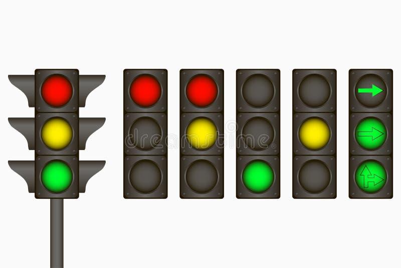 Ilustração do vetor O sinal bonde para regula o tráfego na estrada com as lâmpadas e as setas vermelhas, amarelas, verdes Vetor ilustração royalty free