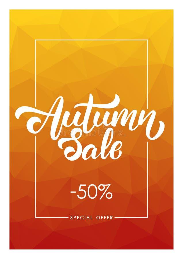 Ilustração do vetor: Ofereça o cartaz com composição escrita à mão da rotulação de Autumn Sale no fundo poligonal ilustração stock