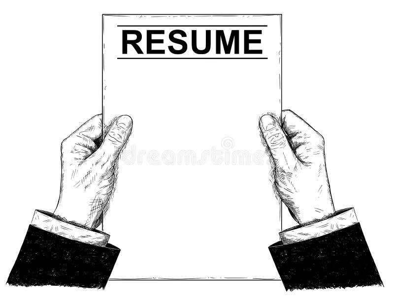 Ilustração do vetor ou desenho artístico das mãos do homem de negócios Holding Resume ilustração stock