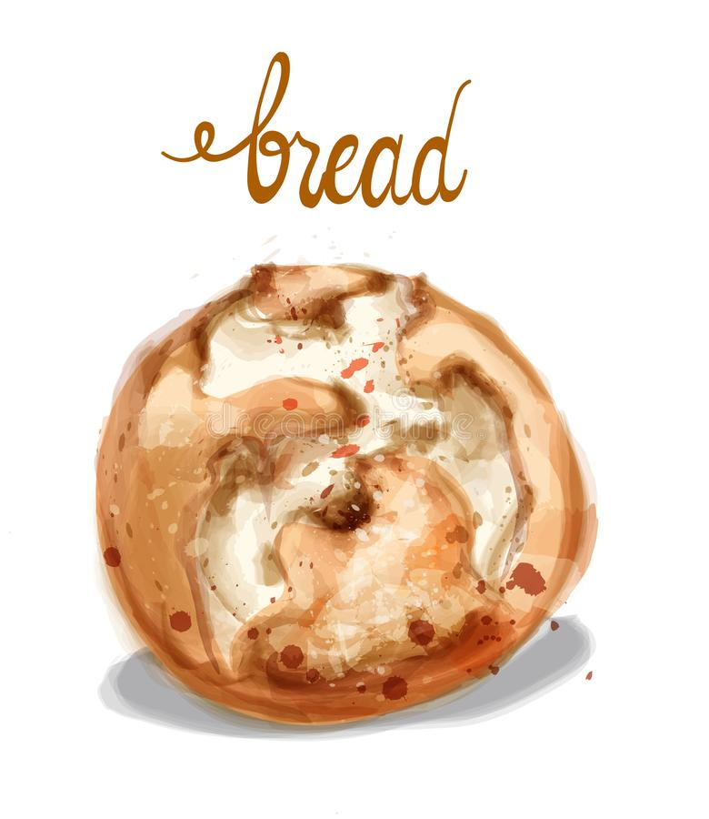 Ilustração do vetor do pão da aquarela Pão caseiro da padaria do vintage ilustração do vetor