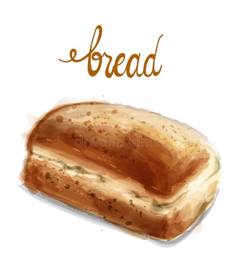 Ilustração do vetor do pão da aquarela Padaria caseiro do vintage ilustração do vetor