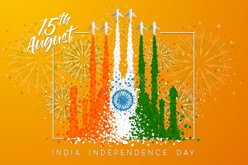 A ilustração do vetor para 'o Dia da Independência da Índia 'com o fumo dos aviões transforma 'a Taj Mahal ' ilustração do vetor