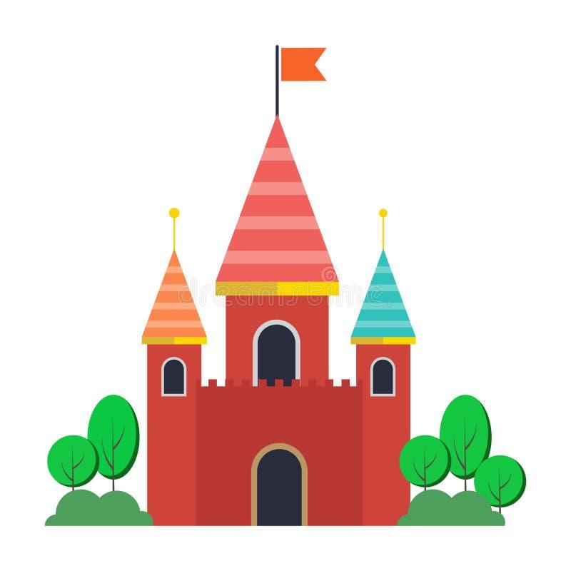 Ilustração do vetor para crianças com o castelo cor-de-rosa feericamente e a paisagem ilustração royalty free