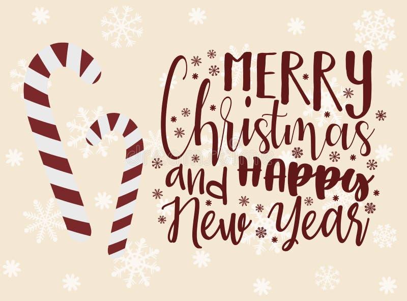 Ilustração do vetor para o ano novo e o Natal Imagem desenhado à mão de doces doces dos desenhos animados na forma de um bastão e ilustração royalty free