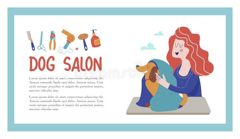 Ilustração do vetor para o cabeleireiro do animal de estimação, denominando e loja da preparação, loja do animal de estimação par ilustração do vetor