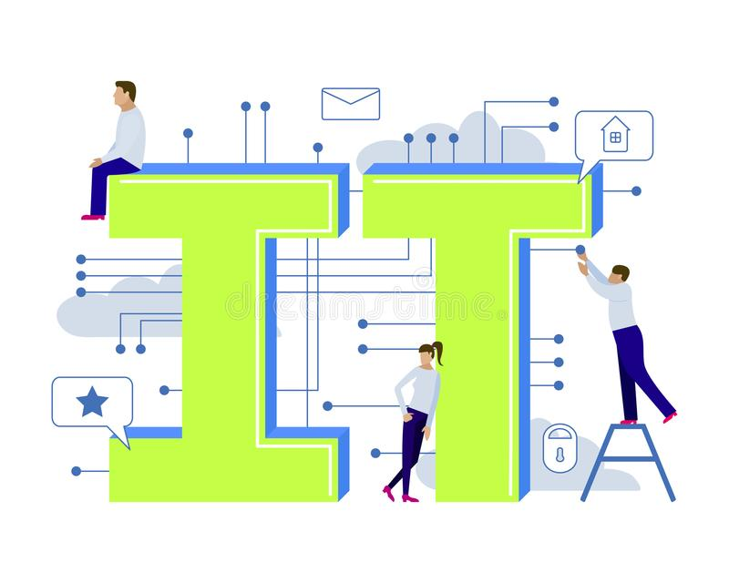 Ilustração do vetor para a tecnologia da informação com homens pequenos ilustração royalty free