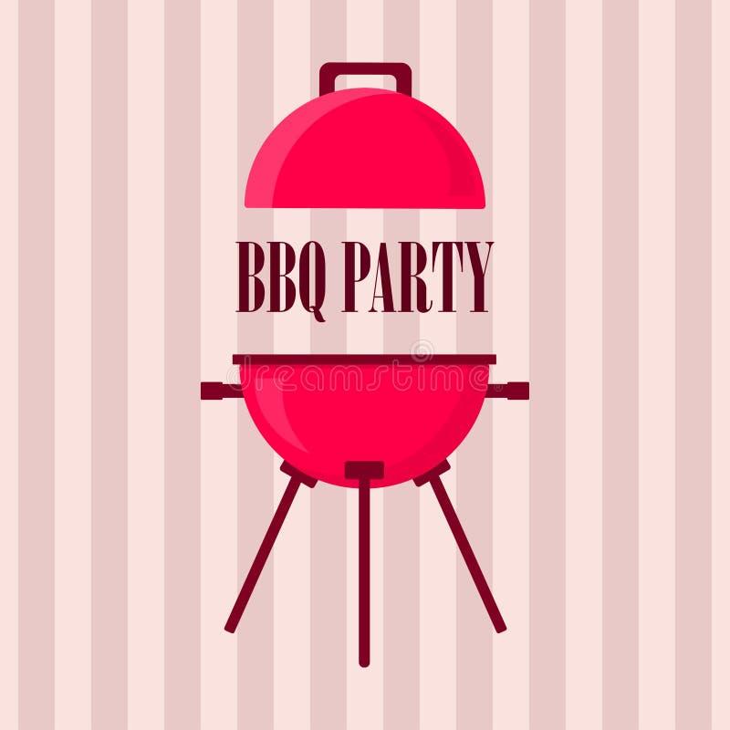 Ilustração do vetor do partido do BBQ com grade ilustração stock