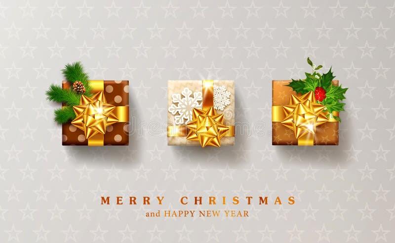Ilustração do vetor pelo Natal e o ano novo GIF embalado três ilustração stock