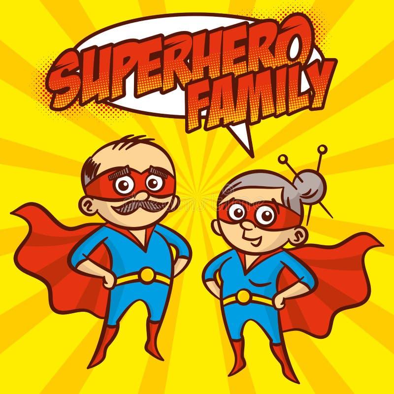 Ilustração do vetor do personagem de banda desenhada dos super-herói da família do super-herói ilustração stock