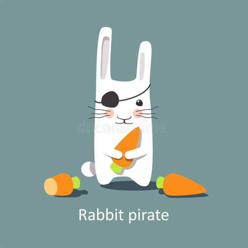 Ilustração do vetor - pirata bonito do coelho ilustração do vetor