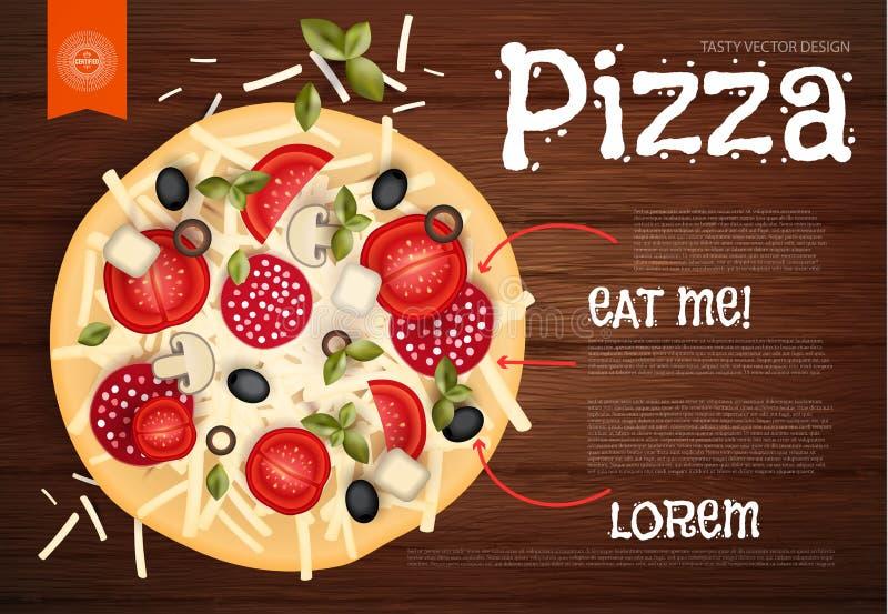 Ilustração do vetor Pizza saboroso na textura de madeira Fundo do fast food ilustração stock