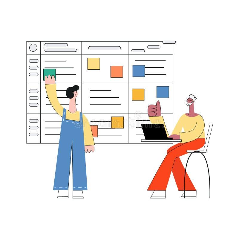 Ilustração do vetor do planeamento do scrum - técnica planejando moderna dos trabalhos de equipe na programação de software ilustração do vetor