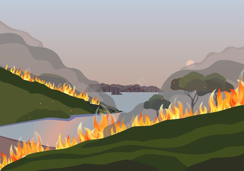 Ilustração do vetor plano das árvores de montanha em caso de incêndio florestal ilustração do vetor