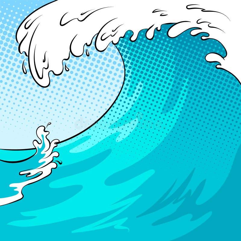 Ilustração do vetor do pop art do fundo da onda de água ilustração royalty free