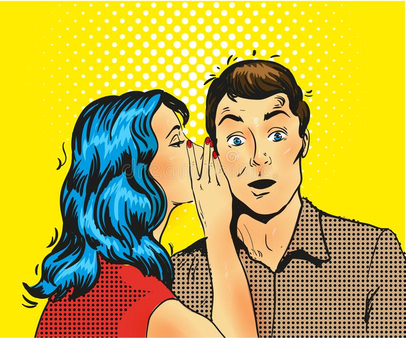Ilustração do vetor do pop art do sussurro do homem e da mulher ilustração do vetor
