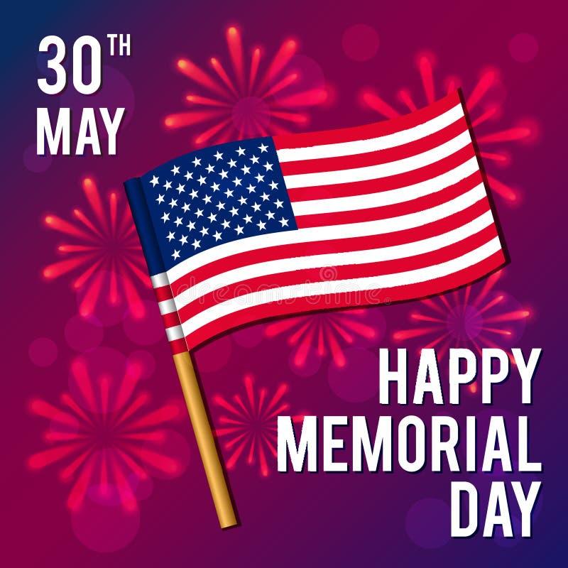 Ilustração do vetor por um feriado americano nacional Imagem da bandeira Memorial Day feliz fotografia de stock