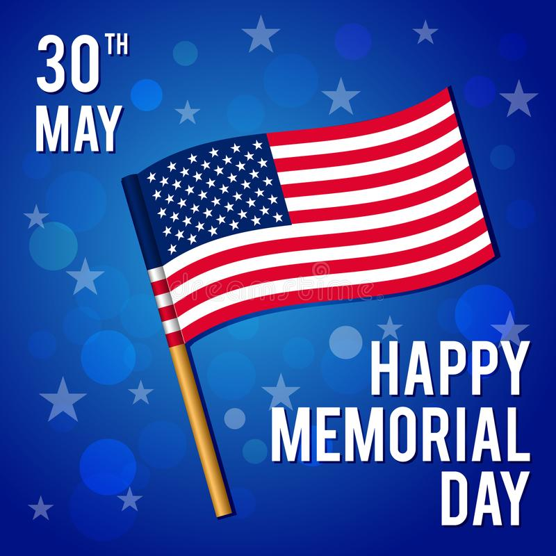 Ilustração do vetor por um feriado americano nacional Imagem da bandeira Memorial Day feliz imagem de stock royalty free