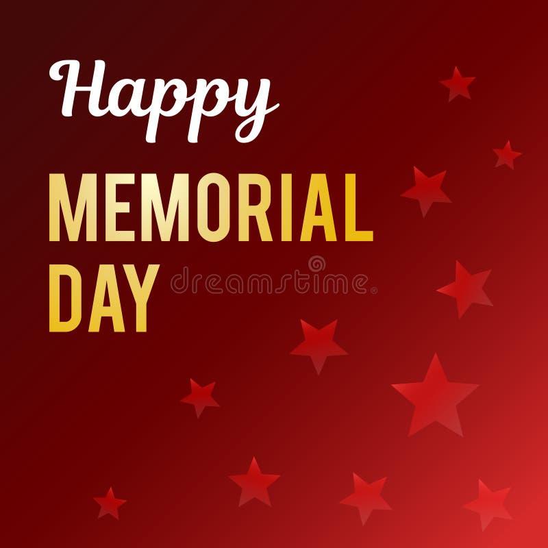 Ilustração do vetor por um feriado americano nacional A inscrição em um fundo escuro com as estrelas Memorial feliz foto de stock royalty free
