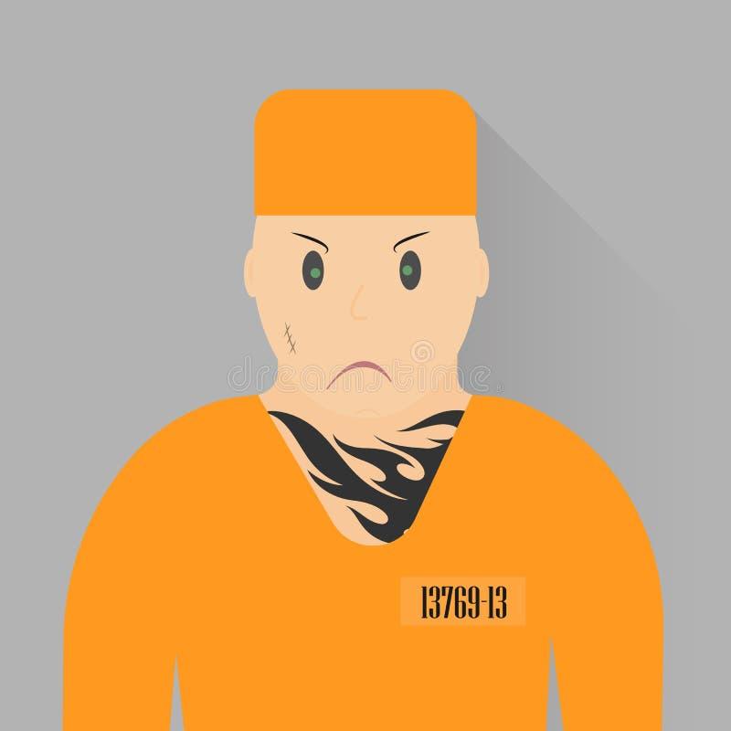 Ilustração do vetor Prisioneiro do ícone Reincidente no uniforme alaranjado ilustração stock