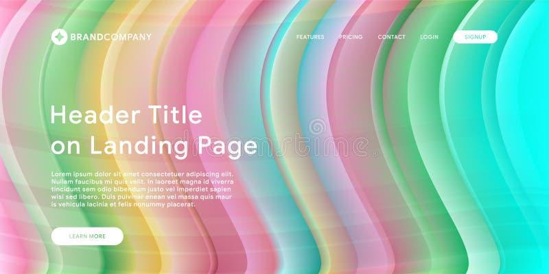 Ilustração do vetor do projeto criativo com formas coloridas fluidas Inclinações na moda da cor Projeto da tira O líquido dá form ilustração stock