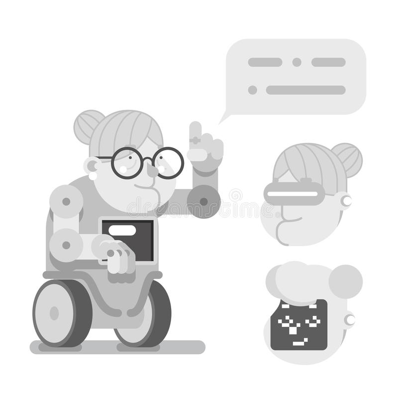 Ilustração do vetor do projeto da senhora idosa Character Cartoon Flat da orientação de Granny Robot Wise do professor ilustração stock