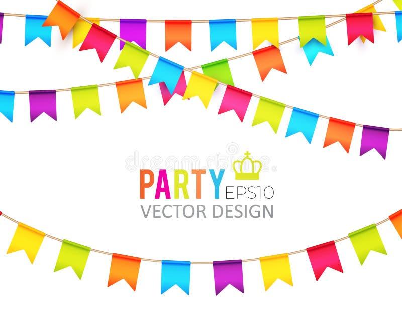 Ilustração do vetor Projeto das bandeiras do partido com confetes Molde do feriado ilustração stock