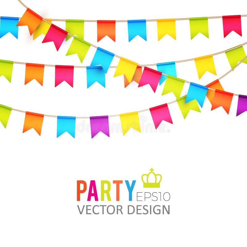 Ilustração do vetor Projeto das bandeiras do partido com confetes Molde do feriado ilustração royalty free