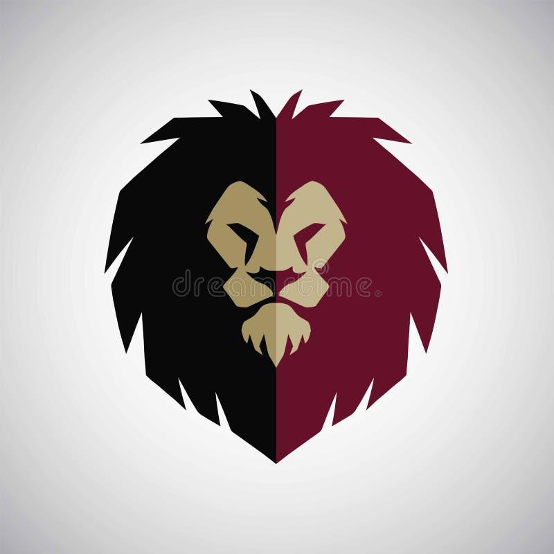 Ilustração do vetor do projeto de Lion Head Mascot Logo Flat ilustração stock