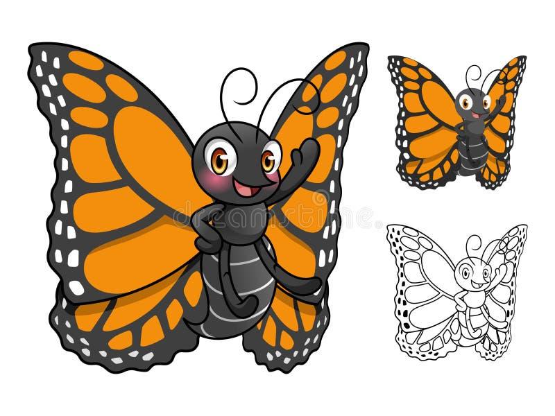 Ilustração do vetor do projeto de personagem de banda desenhada da borboleta de monarca ilustração royalty free