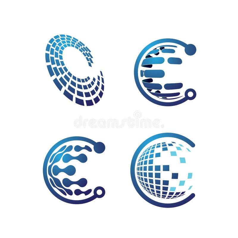 Ilustração do vetor do projeto do logotipo da tecnologia da letra de C ilustração stock