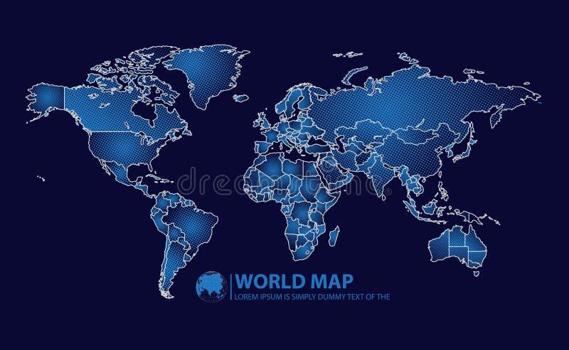 Ilustração do vetor do projeto do mapa do mundo ilustração royalty free