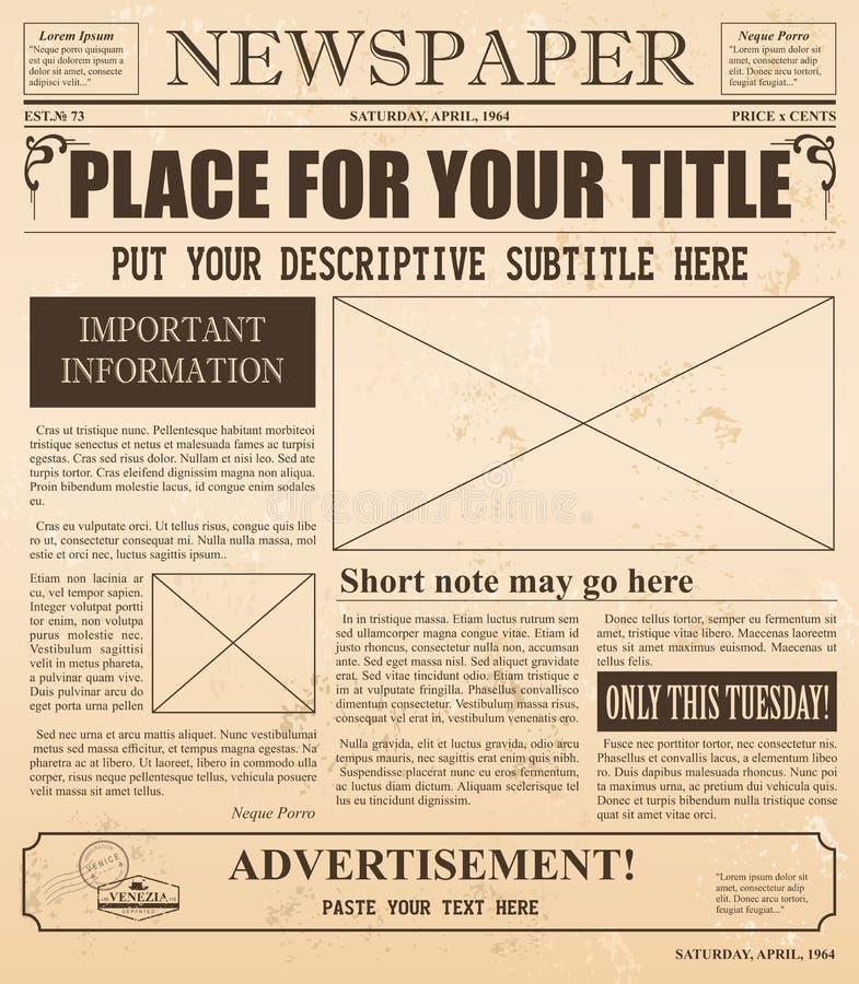 Ilustra??o do vetor do projeto retro do jornal velho Fundo do vintage com lugar para o texto e as imagens ilustração royalty free
