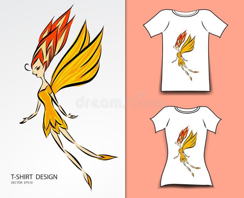 Ilustração do vetor do projeto do t-shirt, desenhos animados feericamente pequenos bonitos, anjo, banda desenhada nos contos de f ilustração do vetor