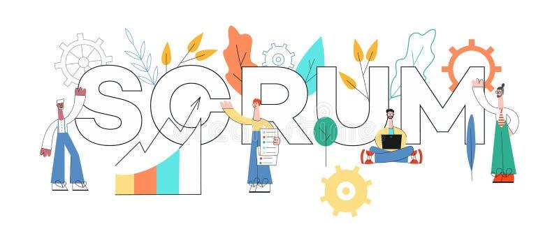 Ilustração do vetor do projeto do texto do scrum - técnica planejando ágil dos trabalhos de equipe na programação de software ilustração royalty free