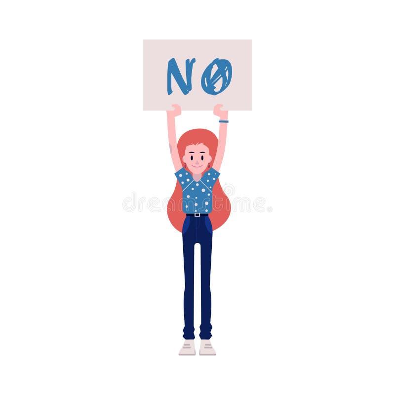 Ilustração do vetor do protestador da mulher - menina caucasiano nova que mantém o cartaz sem o sinal acima ilustração royalty free
