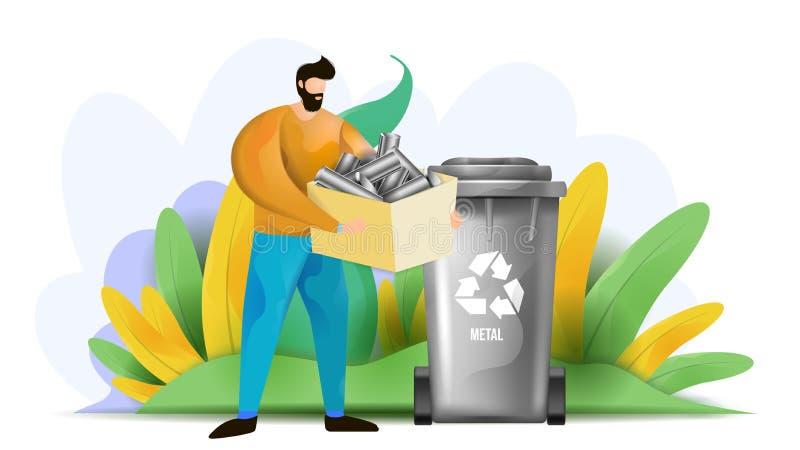 A ilustração do vetor que descreve um homem que classifica um metal desperdiça Classifica??o e reciclagem Waste imagens de stock