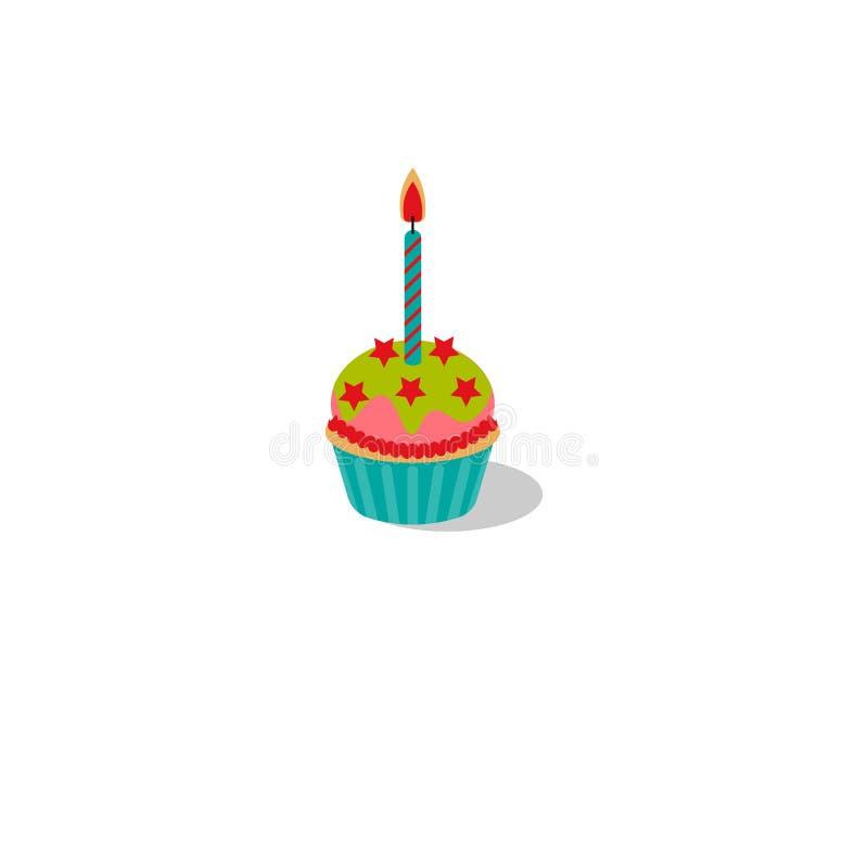 Ilustração do vetor Queque do aniversário com vela ardente Queque com crosta de gelo e estrelas ilustração royalty free